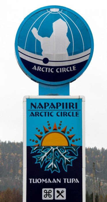 the arctic circle sign in the village of juoksenki in the pello