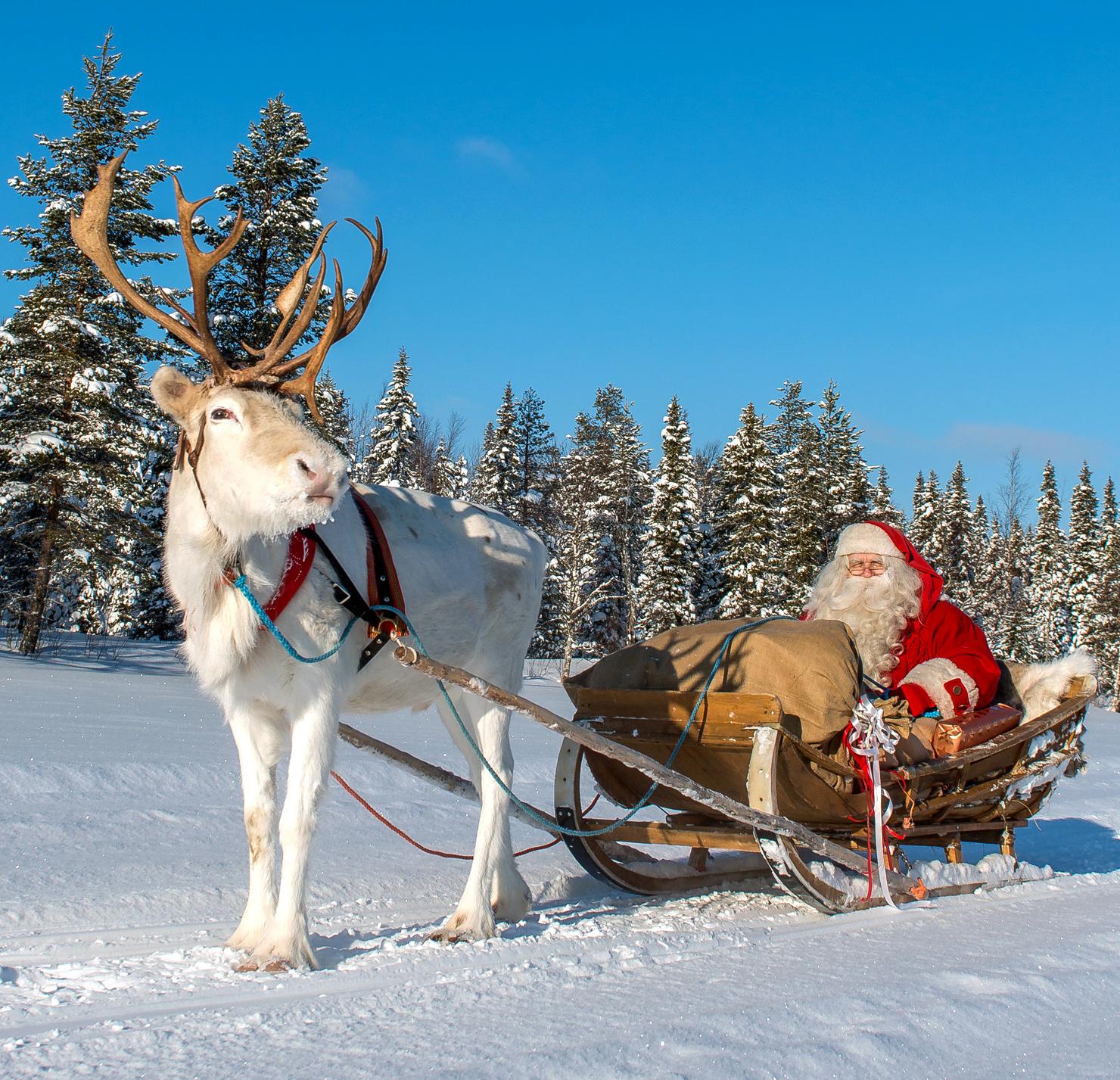 Santa Claus' reindeer sleigh ride at Ritavaara in Pello in ...
