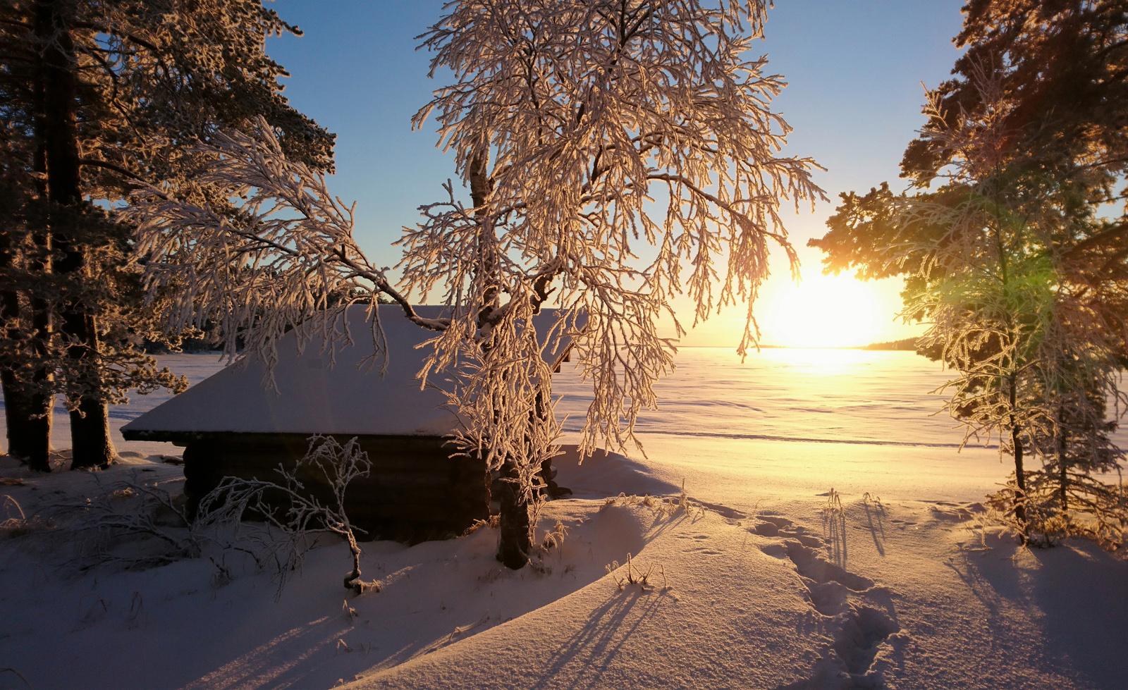 winter view at the lake miekoj rvi in pello in finnish. Black Bedroom Furniture Sets. Home Design Ideas